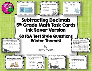 60 Subtracting Decimals Task Cards 5th Grade FSA Style Questions Ink Saver