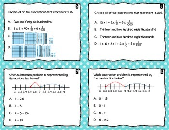 60 Subtracting Decimals Task Cards 5th Grade FSA Style Questions