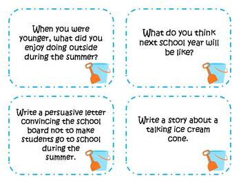 60 Summer Writing Prompts and Story Starter Task Cards