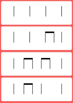 60 Ta, ti-ti and za Flash cards (stick notation)