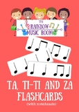 60 Ta, ti-ti and za Flash cards (with noteheads)