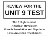 UNIT 9 LESSON 8. World History Unit 9 Test Review POWERPOINT