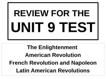 UNIT 9 LESSON 8. World History Unit 9 Test Review POWERPOINT