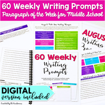 Paragraph of the Week 60 Weekly Writing Prompts for Middle School