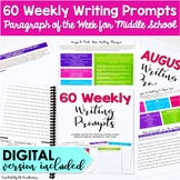 60 Weekly Writing Prompts for Middle School {Paragraph of
