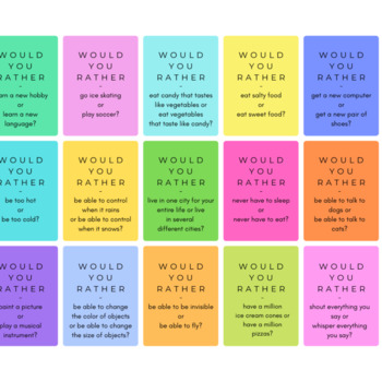 60 Would You Rather Questions to Get to Know Your Students - Mini Cards