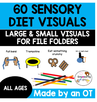 60 sensory diet visuals .... includes large  + small visuals for file folder