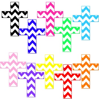 60 x Digital Clip Art Religious Crosses - Colored Patterns