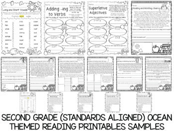 600 K-5 Ocean Themed Language, Reading, Writing, and Math Printables Bundle
