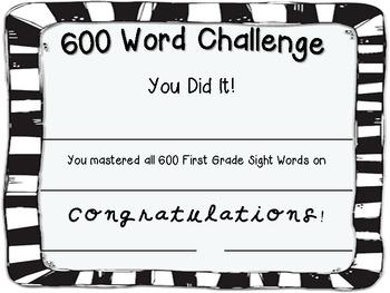 600 Sight Word Challenge