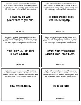 600 Silly Sentences Mini Homework Sheets for Articulation Speech Therapy