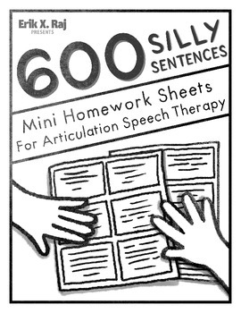 600 Silly Sentences Mini Homework Sheets for Articulation