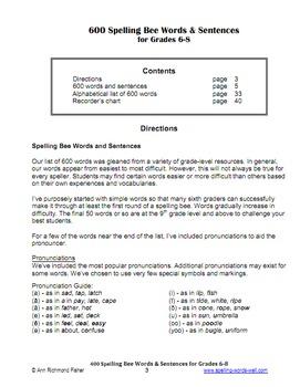 600 Spelling Bee Words & Sentences for Grades 6-8