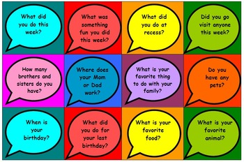 153 Conversation starter cards (2 sets) - great for social skills / conversation
