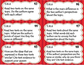 Informational Reading Response Cards (CCSS 5th)