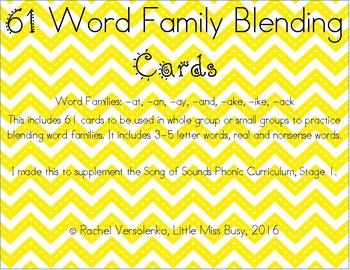 61 Word Family Blending Cards