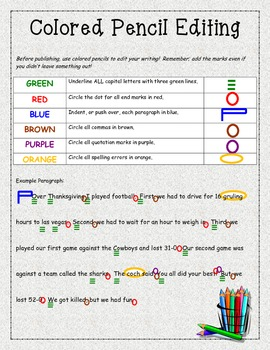 6+1 Writing Traits Colored Pencil Editing STUDENT REFERENCE CARD