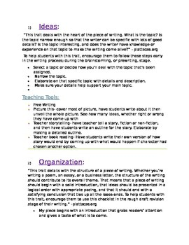 6+1 Writing Traits, song, information, informal assessments, and resources
