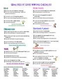 6 Writing Traits/Qualities of Good Writing Checklist