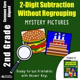 2nd Grade Subtracting Without Regrouping, Double Digit Subtraction Coloring Page
