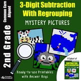 2nd Grade 3 Digit Subtraction With Regrouping Coloring Sheets, Mystery Pictures
