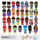 62 African American Superhero Boy Girl Clipart, African American Superhero 0271