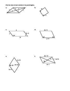 6.2 Properties of Parallelograms (A)