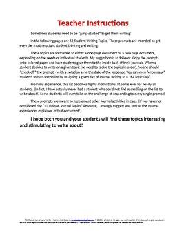 62 Student Journal Topics