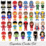 62 Superhero Boy and Girl Clipart, Digital Superhero Clip