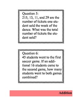 62 Task Cards with Word Problems