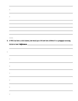 UNIT 10 LESSON 3. Child Labor WRITING ACTIVITY