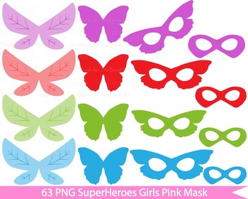 63 PNG- Girls Heroes Masks Set Clipart - Digital Clip Art - 300 dpi 055