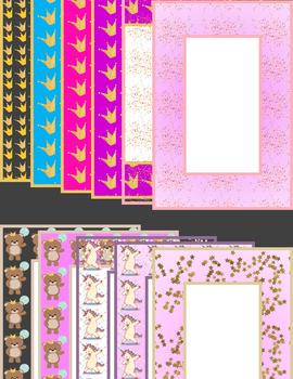 64 Celebration Themed Frames Clip Art Rect. + Square