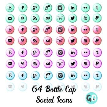 Social Media Icons: Blog Buttons, Bottle Cap Icons, Twitter Pinterest Instagram