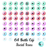 Social Media Icons: Blog Buttons, Bottle Cap Icons, Twitte
