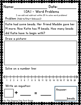 64 First Grade Common Core Word Problems! 1.OA.1 / 1.OA.A.1