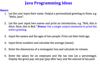 64 Java programming exercise ideas (Beginners to advanced)
