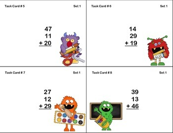 64 Math Task Cards 2nd Grade Adding 3 Two-digit Numbers Monster Theme