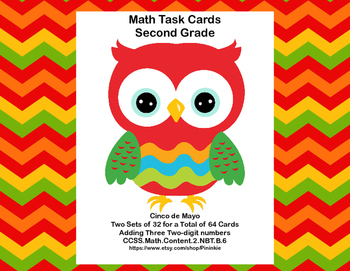 64 Math Task Cards 2nd Grade Adding 3 Two-digit Numbers-Ci