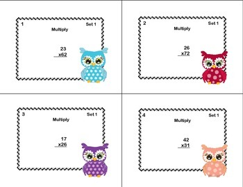 64 Math Task Cards- Grade 4- Multiplication -CCSS 4.NBT.B.5