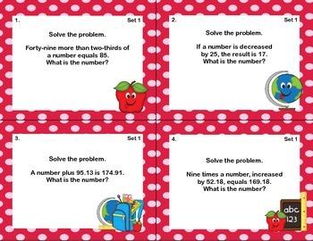 64 Math Task Cards-Grade 7-Algebra Word Problems-CCSS.7.EE.B.4.A