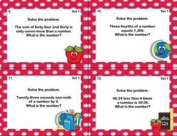Algebra Word Problems- 64 Math Task Cards-Grade 7 CCSS.7.EE.B.4.A