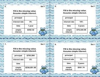 64 Math Task Cards-Grade 7-Simple Interest-CCSS.MATH.CONTENT.7.RP.A.3
