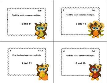 64 Math Task Cards Review - Least Common Multiple-Fall Theme-CCSS