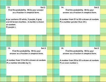 Theoretical Probability-64 Math Task Cards -Seventh Grade-CCSS.MATH.7.SP.C.6