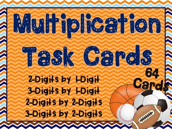 64 Multiplication Task Cards - Sports Theme