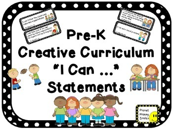 "64 Pre-K ""I can …"" Statements ~ Black and White Polka Dot"