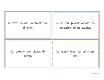 80 Bilingual Spanish/English Debate Cards: Defend, Challenge, Qualify