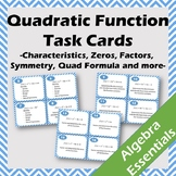 64 Quadratic Task Cards - Vertex, Solutions, Factors, Quad