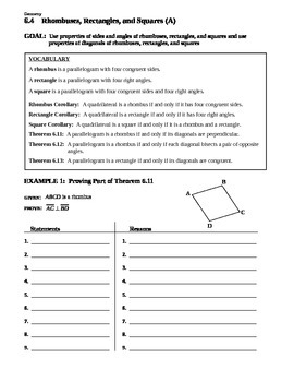 6.4 Rhombuses, Rectangles, and Squares (A)